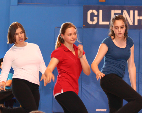 Dancers in synch during competition.