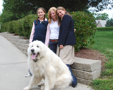 Beethoven enjoys an afternoon walk with students.