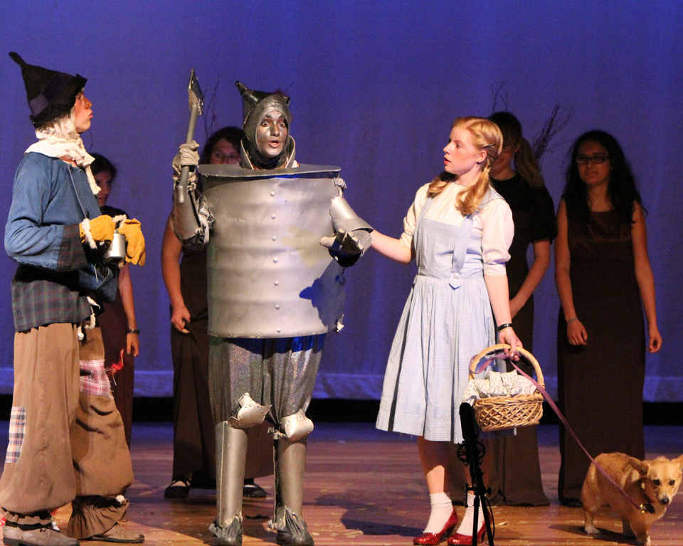 Dorothy and Scarecrow meet Tinman